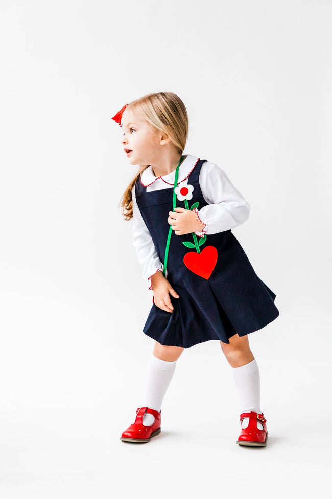 Navy Jumper with Heart and Flower