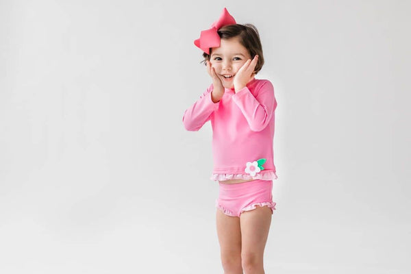 Pink Rashguard Swimsuit with Appliqued Flower