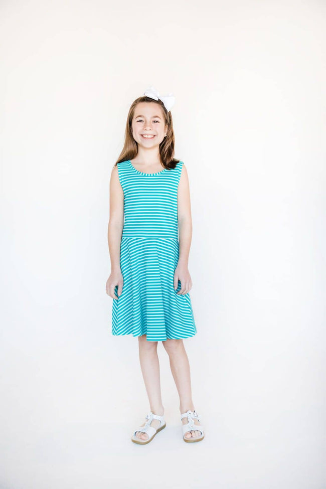 Aqua Shadow Stripe Knit Dress - Florence Eiseman