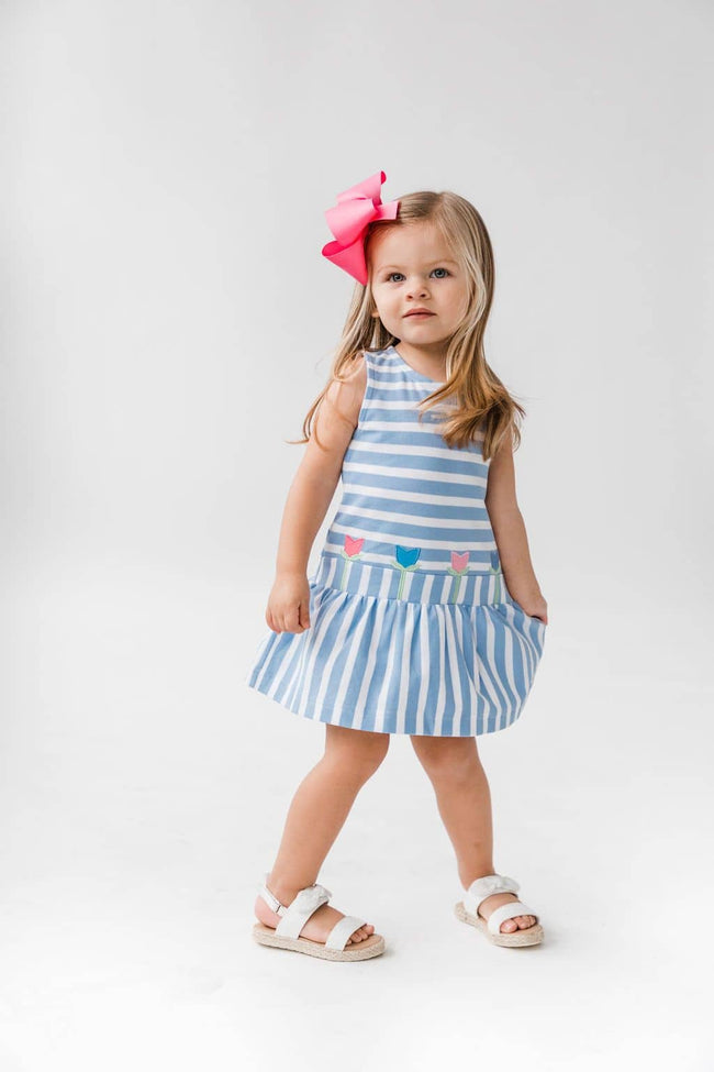 Light Blue Stripe Knit Tulip Dress
