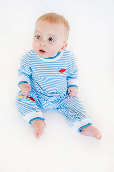 Stripe Boys Longall with Appliqued Fish