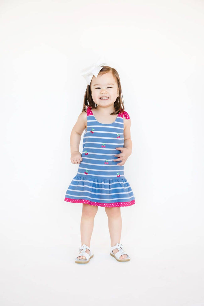 Blue Stripe Pique Knit Embroidered Cherry Dress