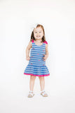 Blue Stripe Pique Knit Embroidered Cherry Dress - Florence Eiseman