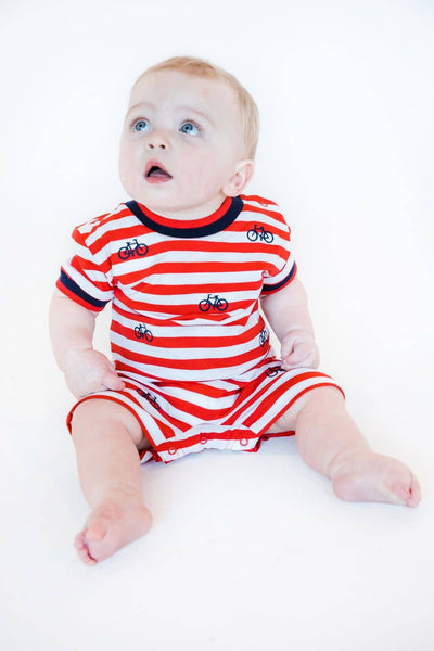 Red Stripe Knit Shortall with Embroidered Bicycles