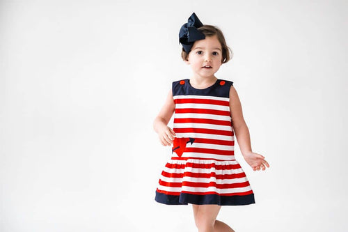 Red and White Stripe Knit Dress with Hearts - Florence Eiseman