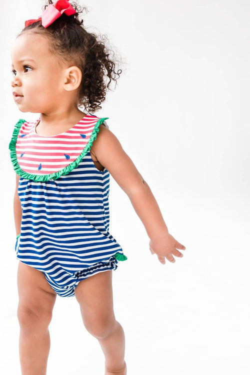 Watermelon Romper with Ruffle - Florence Eiseman