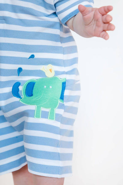 Light Blue Stripe Knit Elephant Romper