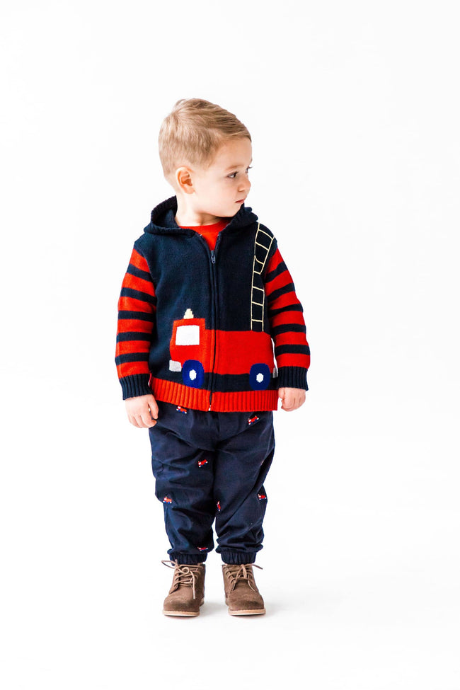 Infant and Toddler Boys Fire Truck Sweater