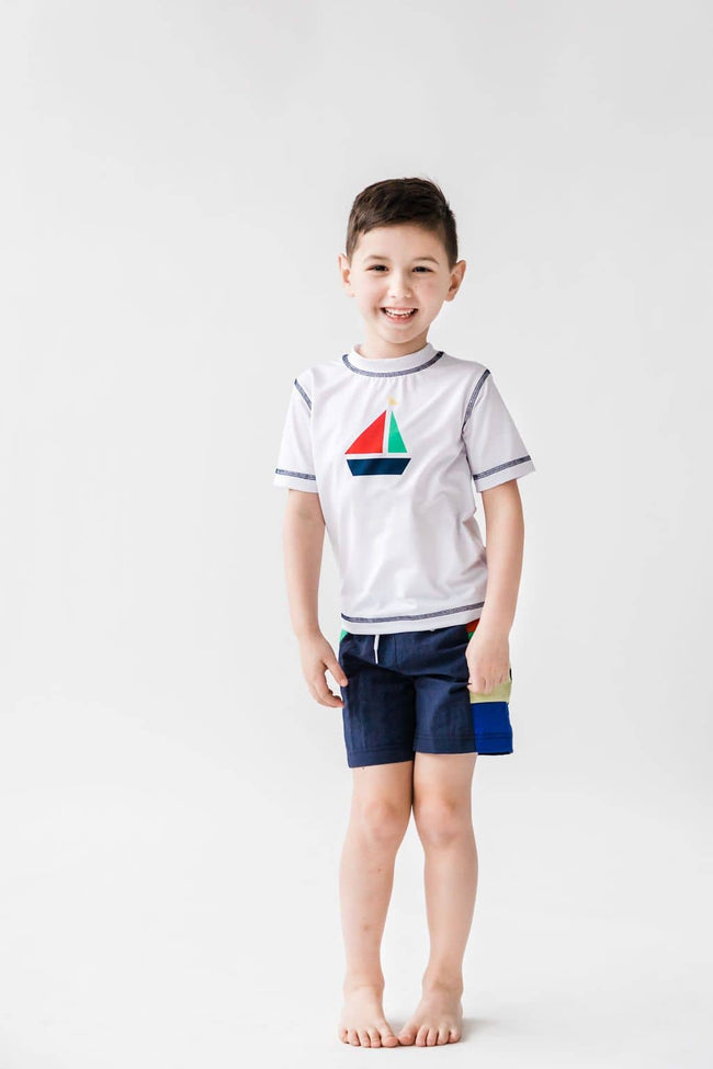 Short Sleeve Rash Guard with Sailboat