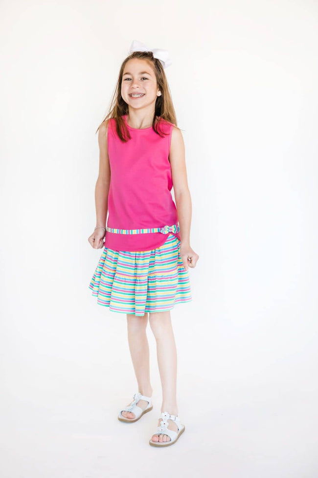 Sleeveless Top with Stripe Band and Bow