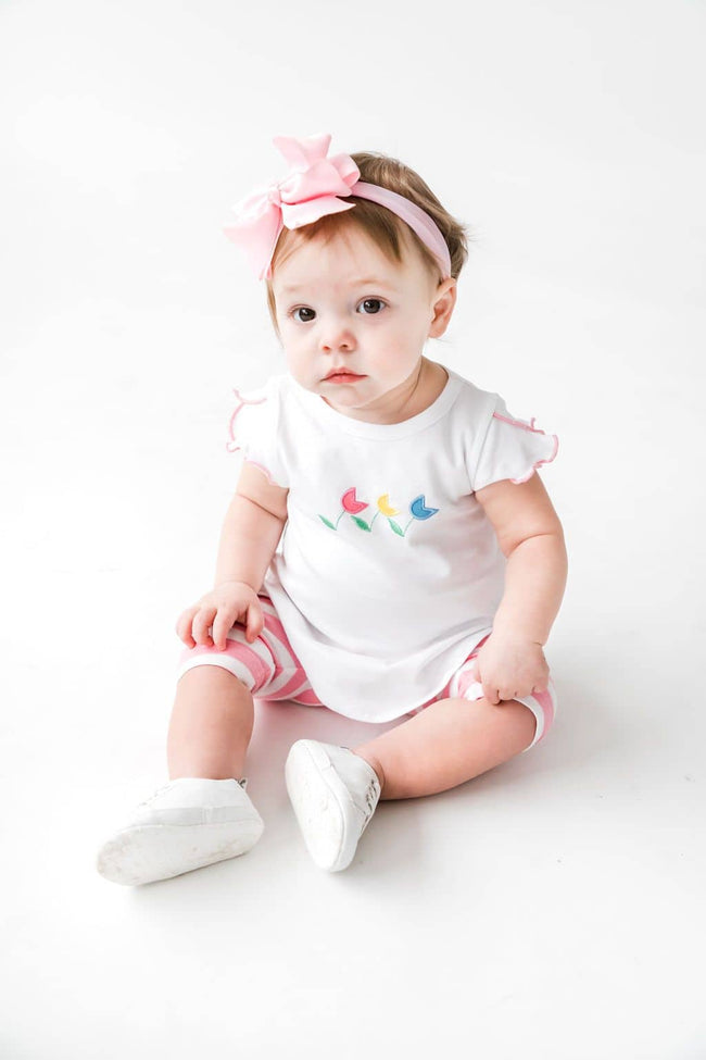 Tulip Embroidered Top with Pink/White Stripe Capris