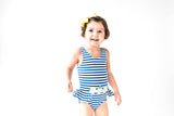 Royal Stripe Swimsuit with Daisy Appliques