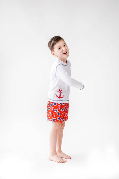 Nautical Print Quick Dry Swim Trunks - Florence Eiseman