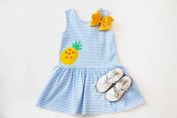 Blue Stripe Knit Sundress with Appliqued Pineapple