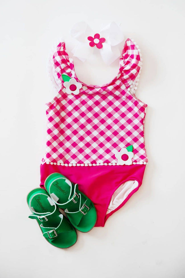 Fuchsia Check Swimsuit with Shoulder Ruffles