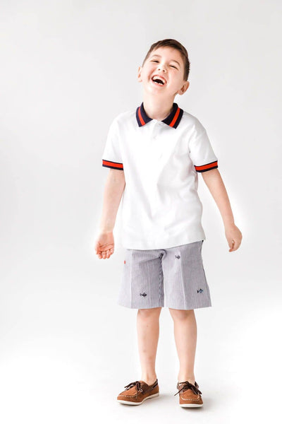 Polo Shirt with Navy and Red Stripe Collar