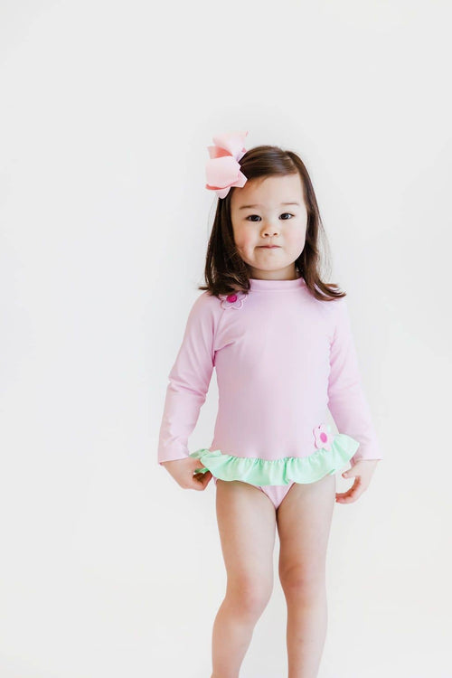 Pink Rash Guard Swimsuit - Florence Eiseman