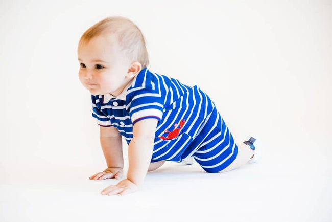Royal Stripe Knit Pique Crab Romper