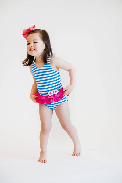 Blue Stripe Swimsuit with Pink Dot Hip Ruffles