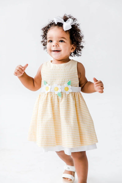 Yellow Raised Stripe Dress with Appliqued Flowers