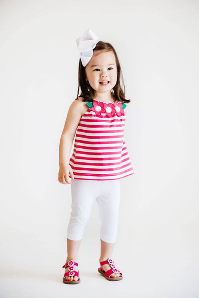Fuchsia Stripe Top and White Capris
