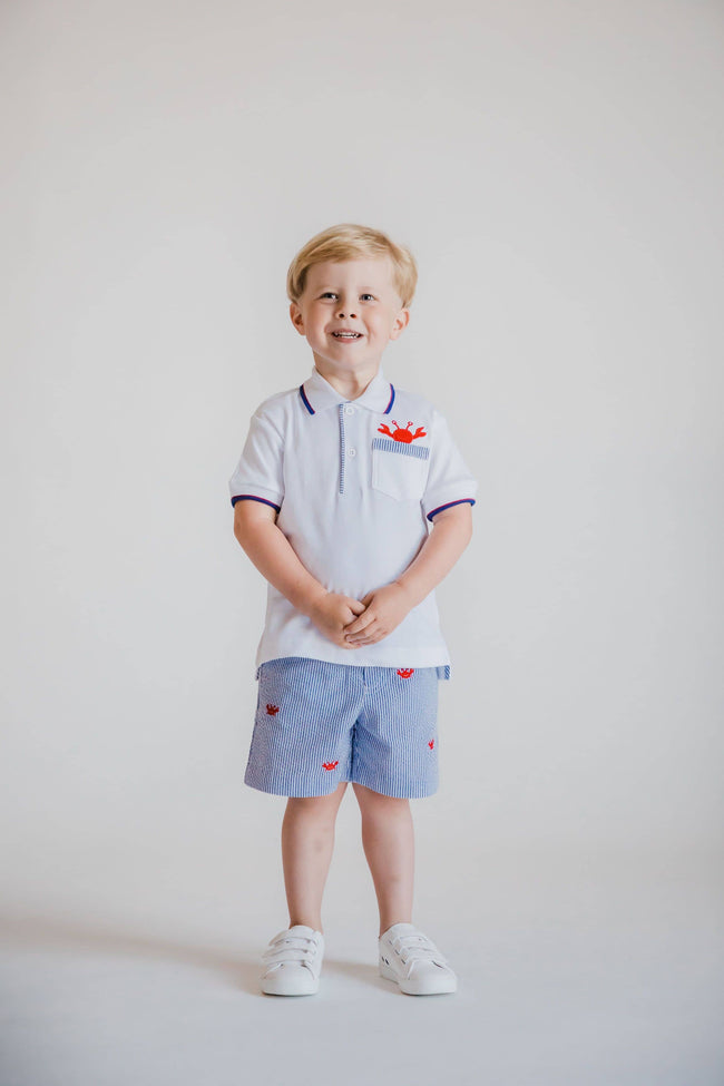Royal Stripe Seersucker Shorts with Embroidered Crabs