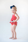 Red and White Stripe Swimsuit with Flowers