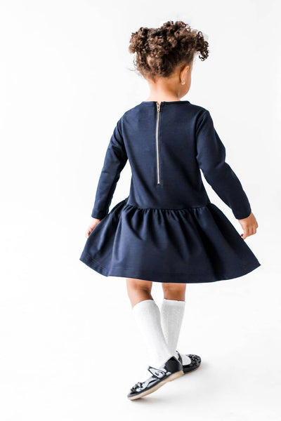 Girls French Terry Dress with Lace Front
