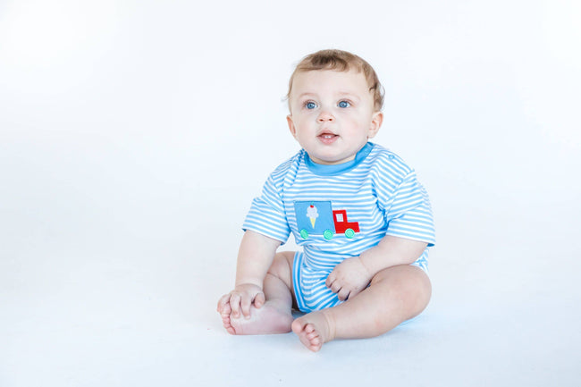 Blue Stripe Boys Romper with Ice Cream Truck - Florence Eiseman