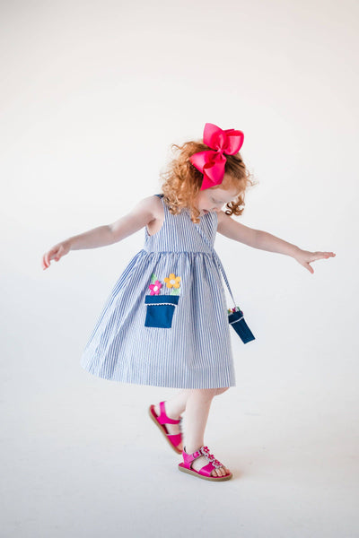Seersucker Sundress with Flower Pot Pocket and Purse
