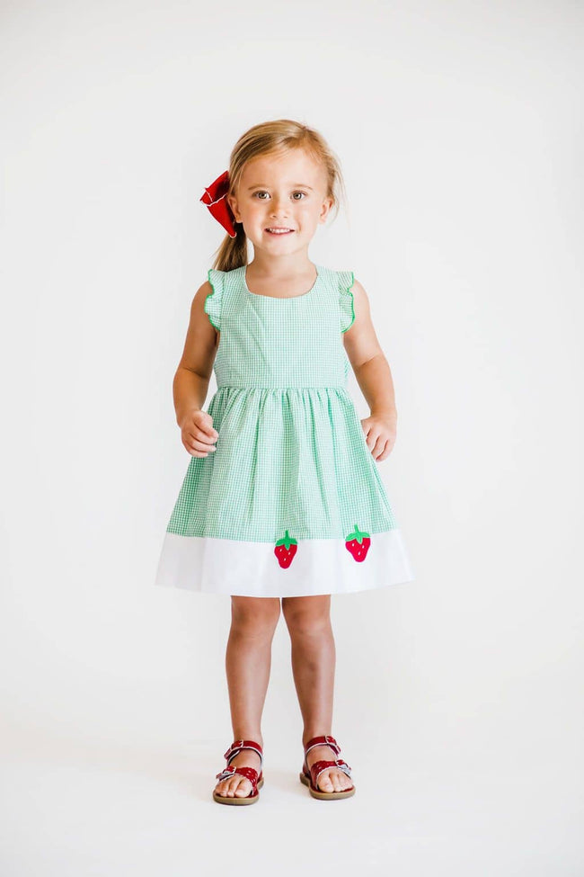 Green Check Seersucker Dress with Strawberries