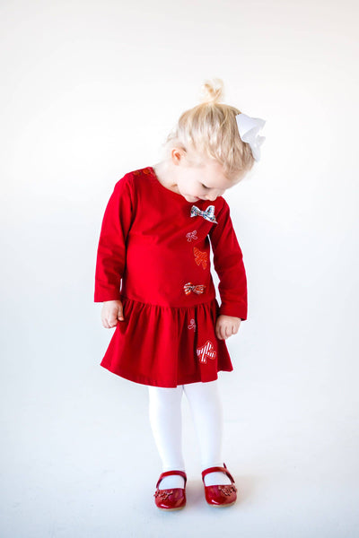 Red Knit Bow Dress