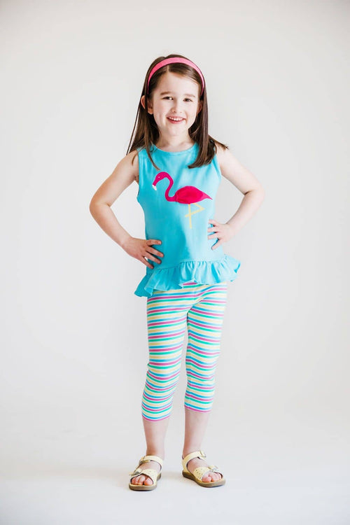Turquoise Tank Top with Flamingo - Florence Eiseman