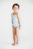 White and Blue Palm Tree Print Swimsuit