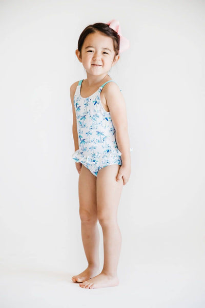 White and Blue Palm Tree Print Swimsuit - Florence Eiseman