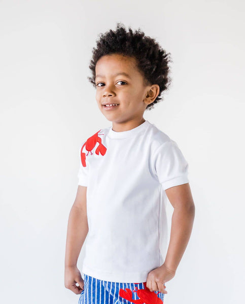 White T-Shirt with Appliqued Lobster