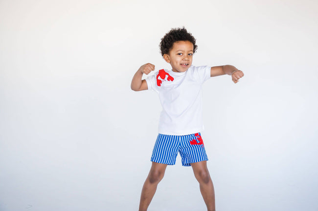 Blue Stripe Swim Trunks with Lobster Applique