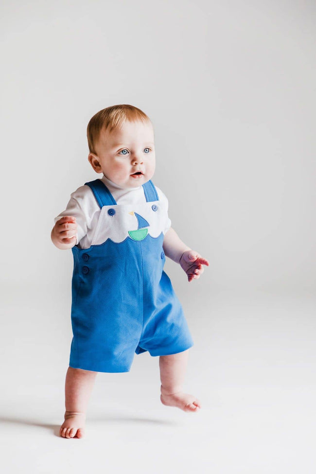 Blue Pique Shortall with Sailboat