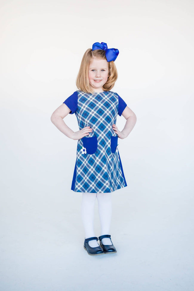 Royal Plaid and Ponte Dress with Applique Flowers
