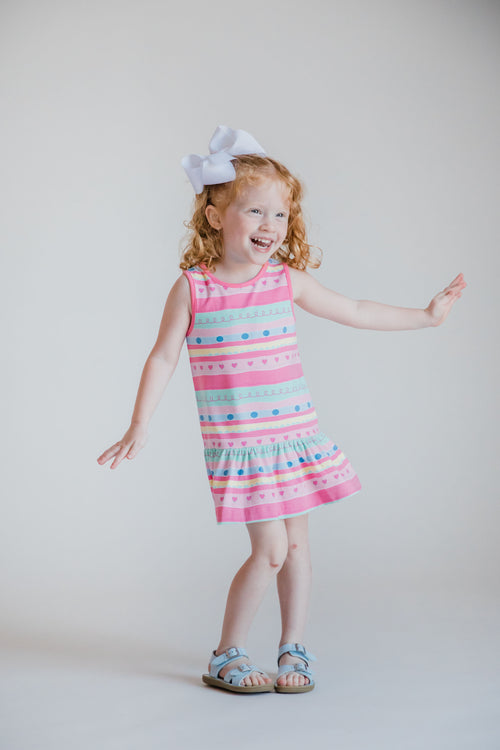 Multi Stripe Dress With Drawstring Yoke And Heart Ties