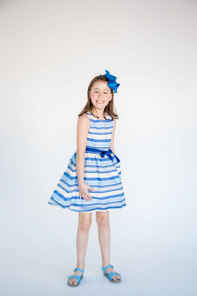 Tween Blue Stripe Organza Dress with Ribbon Belt