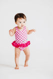 Fuchsia Check Swimsuit with Flowers