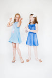 Periwinkle Crinkle Techno Knit Dress