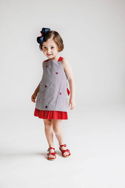 Red and Navy Reversible Ladybug Dress