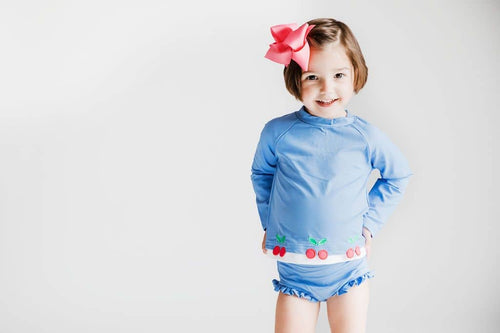 Periwinkle Rashguard Swimsuit with Cherry Appliques - Florence Eiseman