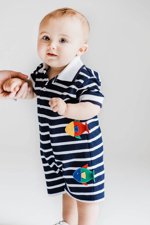 Navy Stripe Knit Pique Fish Romper - Florence Eiseman