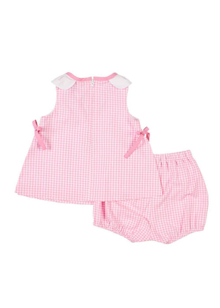 Pink Check Petal Neck Top With Bloomer - Florence Eiseman