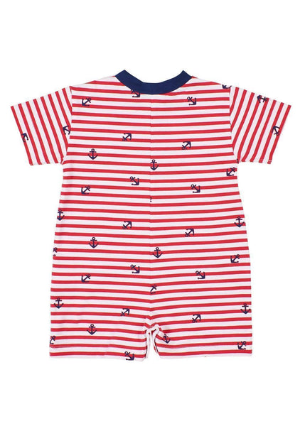 Anchor Print Short Sleeve Shortall With Anchor Pocket - Florence Eiseman