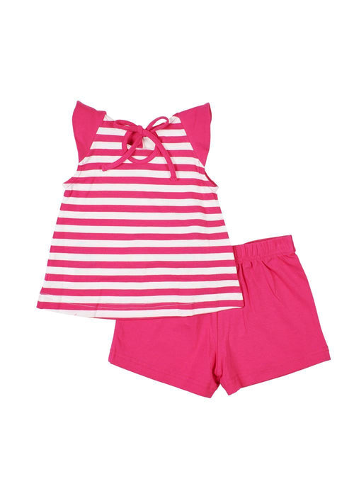 Fuchsia Stripe Top With Ice Cream Cones And Short