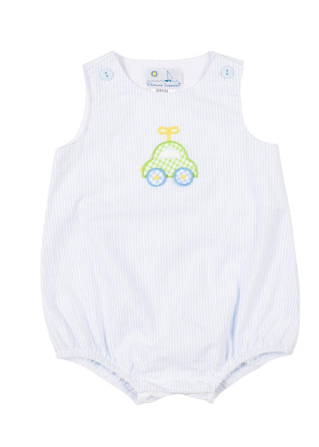 Blue Check Pique Shortall With Train Applique